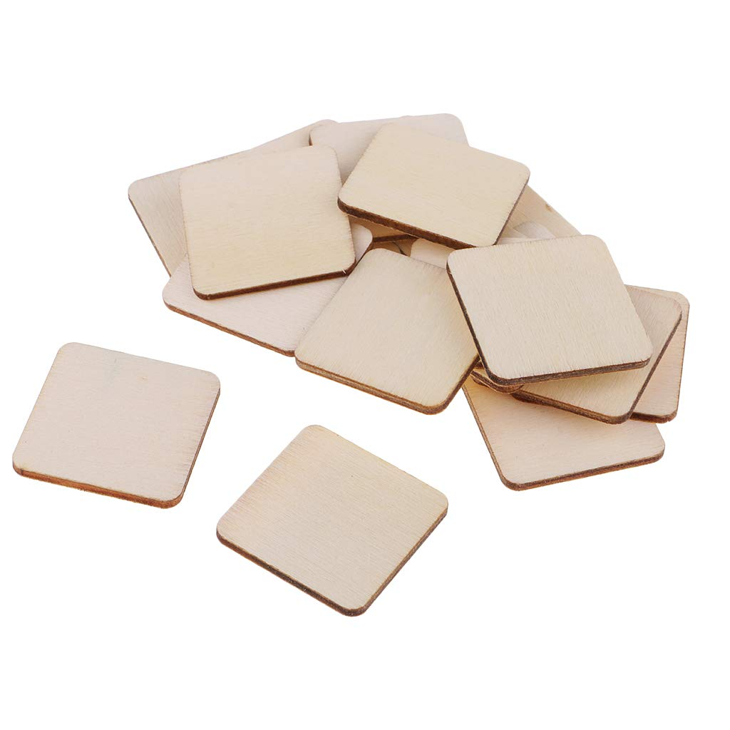 Natural Rustic Coasters Plain Wood Craft Blanks for Home Decoration DIY Wooden Rectangle//Square Cutout Plaque 34x34mm Prettyia 100 Pieces Unfinished Wood Pieces