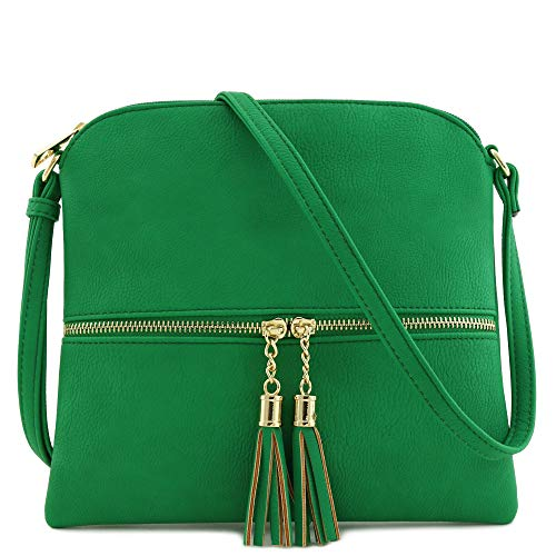 Lightweight Medium Crossbody Bag with Tassel (Kelly Green) ()