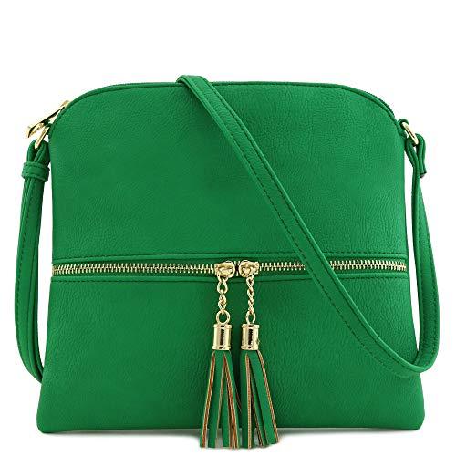 Lightweight Medium Crossbody Bag with Tassel (Kelly ()
