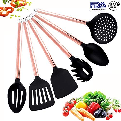 HOPEBIRD Silicone Cooking Utensils Set with Copper Handle, Stainless Steel Copper Plating Handle Kitchen Utensils 6 Piece, Hanging Cooking Tool Spoons for Nonstick Cookware