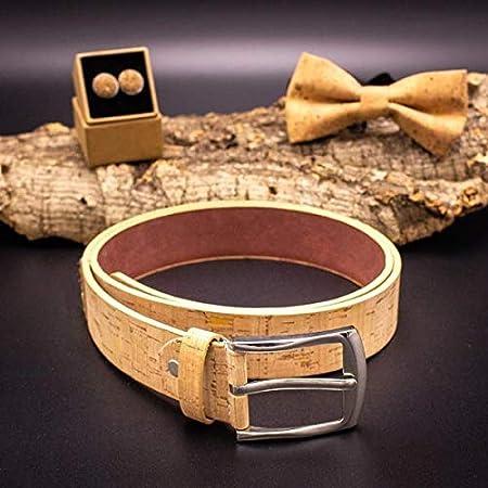 RTYU Los Hombres de la Correa de Corcho Mens de la Correa Veganos cinturón de Cuero Natural Hecho a Mano de Color marrón cinturón de Madera (Belt Length : 120CM, Color : Brown Cork Belt)