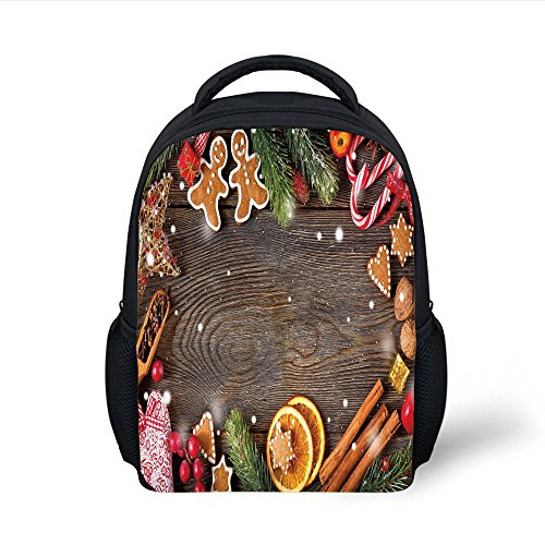 - iPrint Kids School Backpack Gingerbread Man,Festive Christmas Frame with Spices Biscuits Decorative Elements on Table Decorative,Multicolor Plain Bookbag Travel Daypack