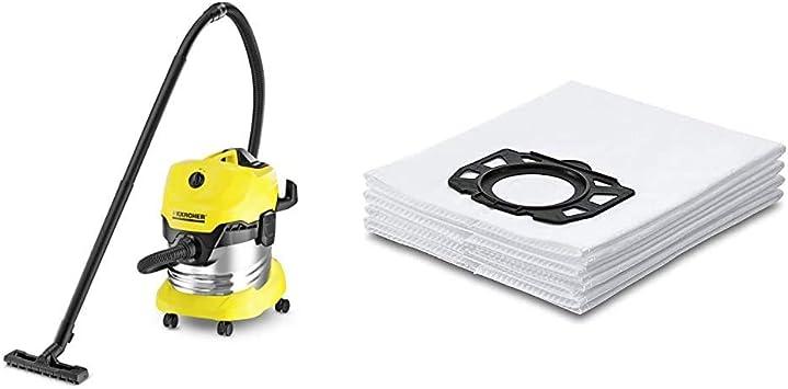 Kärcher WD4 Premium - Aspirador en seco y húmedo, 1000 W, 20 l + Kärcher Bolsas de filtro WD4-WD5-WD6: Amazon.es: Bricolaje y herramientas