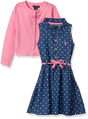 (U.S. Polo Assn. Girls' Little' Dress with Sweater or Jacket, Denim Polka dots Aurora Pink, 4)