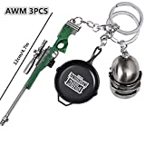 Metal Keychain 3PCS Iron Key Ring Pendant Including Green AWM Frying Pan and Level 3 Helmet