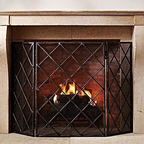 暖炉スクリーン 赤ちゃんのペットのための黒い安全暖炉ガードフェンス-折り畳み式の炉床フラットスパークスクリーン-伝統ストーブマントルカバー