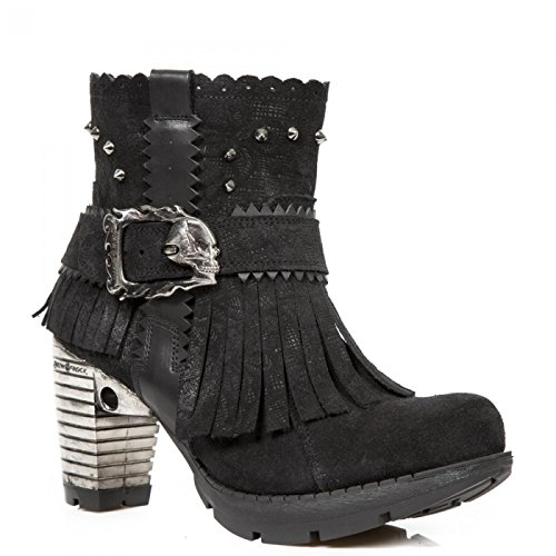 New Rock Boots M.tr077-s1 Gotico Hardrock Punk Damen Stiefelette Schwarz