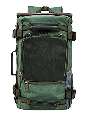 ECOSUSI Vintage Canvas Backpack Travel Duffel Bag Rucksack Hiking Bag Casual Tactical Backpacks