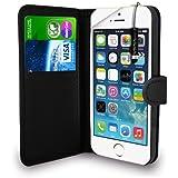 Apple iPhone 5S / 5 - Leder Geldbörse Flip Hülle Tasche + Mini Stylus Pen + Display Schutzfolie & Poliertuch (Schwarz)