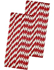 Red Stripe Foil Paper Straws - 7.75 Inches - 50 Pack