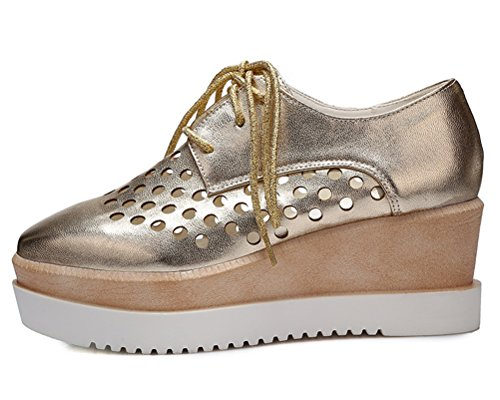 Lace Wedges Size up Hollow Toe HiEase Oxfords Flatform Shoes Breathable Summer Leather 4 Out 11 Square Women's Gold wSnn860qA