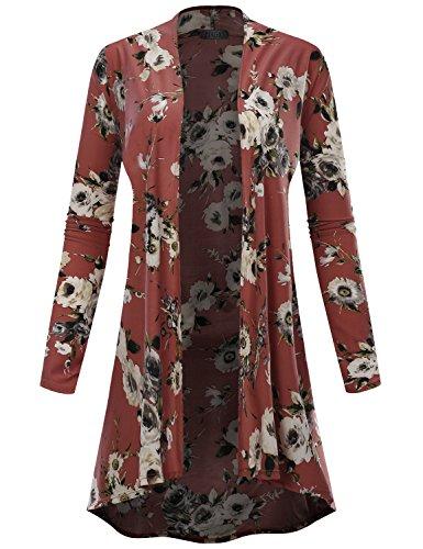 (BIADANI Women Long Sleeve High Low Drape Floral Print Cardigan 12205 Mauve XXX-Large)