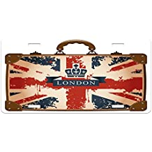 Union Jack License Plate by Ambesonne, Vintage Travel Suitcase with British Flag London Ribbon and Crown Image, High Gloss Aluminum Novelty Plate, 5.88 L X 11.88 W Inches, Dark Blue Red Brown