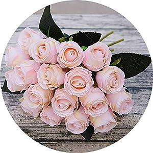 vibe-pleasure 18pcs/Lots Artificial Rose Flowers Wedding Bouquet White Pink Thai Royal Rose Silk Flowers Home Decoration Wedding Party Decor 15