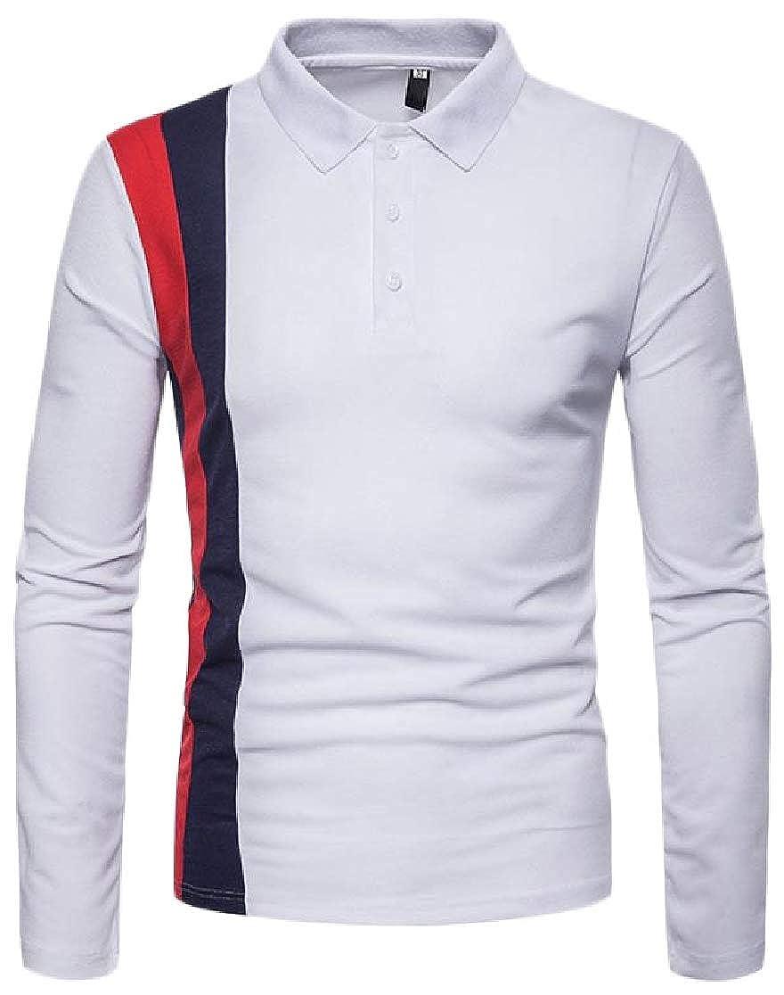 Joe Wenko Men Color Block Casual Long Sleeve Polo Shirt T-Shirts Tops Tees