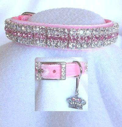 Pink Velvet Princess Rhinestone Pet Dog Cat Collar Sz Small