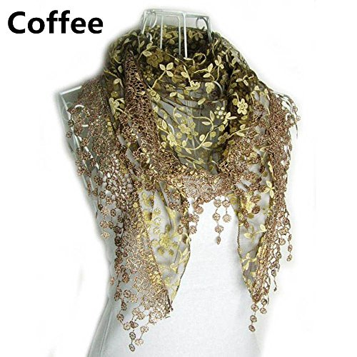 Rose Cottage Embroidery - Boutiages New Women Fashion Embroidery Rose Scarf Shawls Spring Autumn Lace Triangle Wraps
