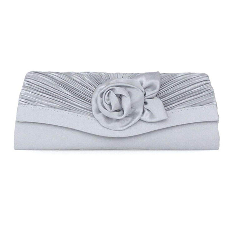 Abless Rosettes Satin Fabric Birdal Elegant Fashion Party Clutch Purses Handbag - Silver