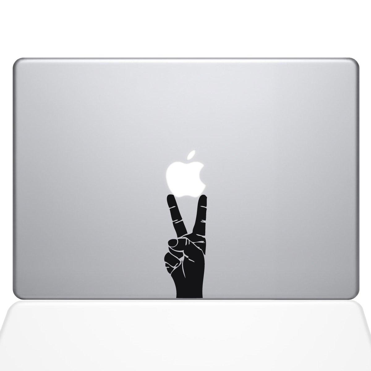 The Decal Guru Peace Sign Hand MacBook Decal Vinyl Sticker - 13'' Macbook Pro (2015 & older) - Black (1147-MAC-13P-BLA) by The Decal Guru