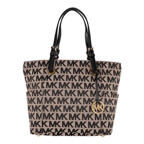 Michael Kors Jet Set Monogram Signature Logo Tote in Black