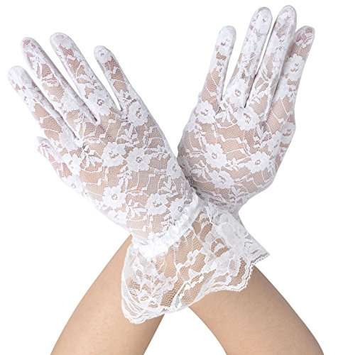 Deceny CB Short Lace Gloves for Women Wrist Length Floral Gloves for Wedding (White)
