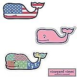 #8: 3X VINEYARD VINES Whale Vinyl Stickers - American Flag, Patchwork, Classic Pink - PREPPY 2.0 x 4.5