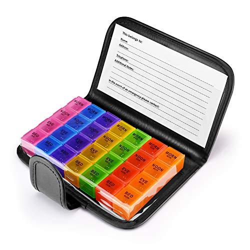 Anpole Pastillero Semanal, 7 Días Pill Wallet Organizador de pastillas 28 Compartimentos Dispensador de Pastillas Almacenamiento de los Titulares de la ...