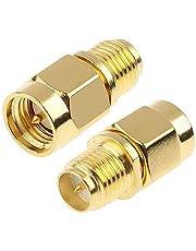 TengKo SMA hankontakt till RP-SMA hona RF rak kontakt guldpläteringsadapter (2-pack)