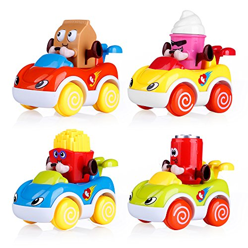 VATOS Set of 4 Toddler Toys Vehicles, Friction Powered Cars, Cartoon Push and Go Car Toy Play Set, Early Educational Toys for 1-4 Years Old Boys and Girls by VATOS