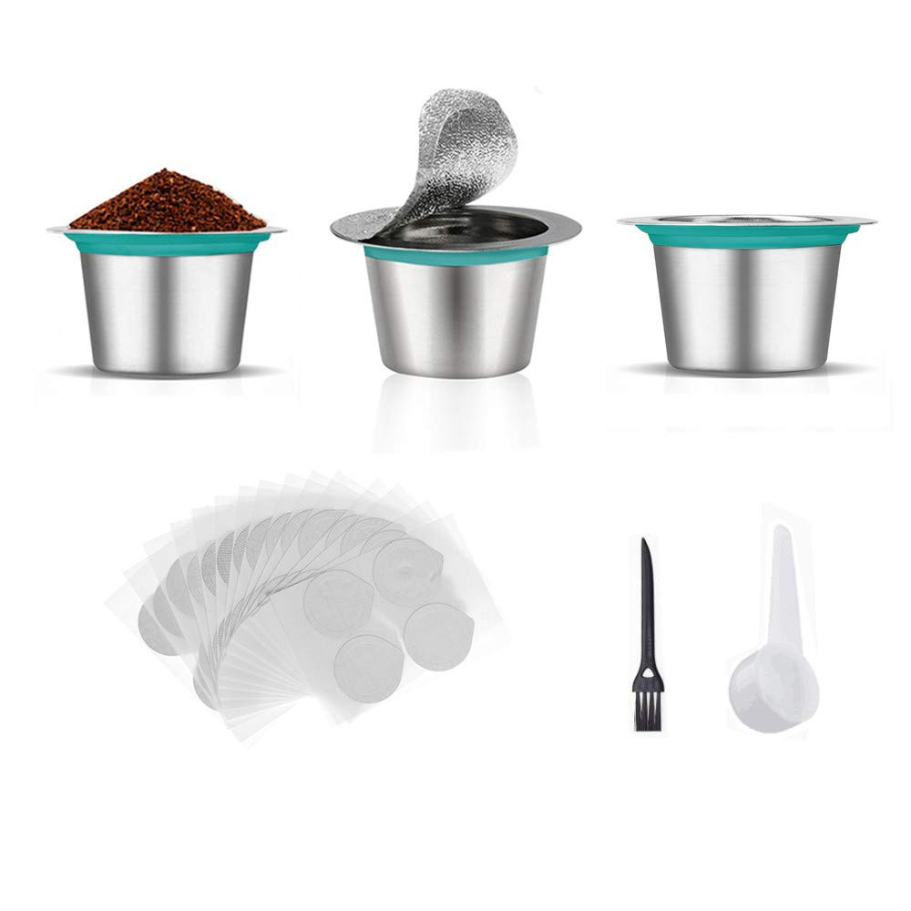 FYManny 3 Piece Stainless Steel Reusable Coffee Capsules 100 Foil Lid