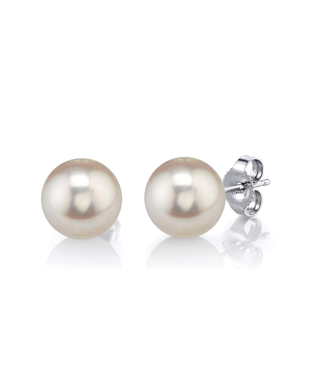 14K Gold 7-8mm Round White Freshwater Cultured Pearl Stud Earrings for Women
