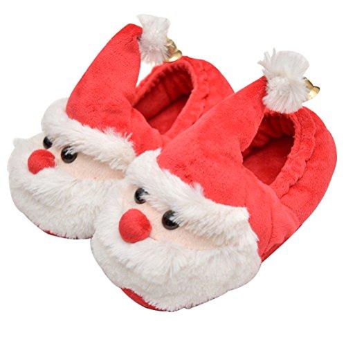 OULII Pantoufles Noël Chaussons chaudes en forme du père noël Antidérapant pour adultes et enfants-taille 23-24