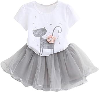 Imagen deK-youth Vestido de niña, Vestido para Bebés Ropa Impresa de Camisa y del Vestido del Gato Muchacha Encantadora Ropa de Bebe niña Verano 2018