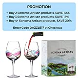 Sonoma Artisan Stemware, Handcrafted and Painted Wine Glasses, Set of 2, Unique and Special Gift Idea