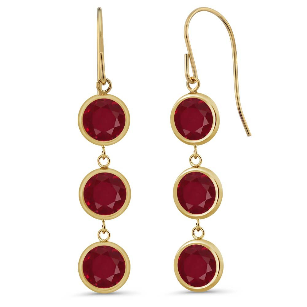 3.36 Ct 3 Round Stones Red Ruby 14K Yellow Gold Bezel 1'' Dangle Earrings
