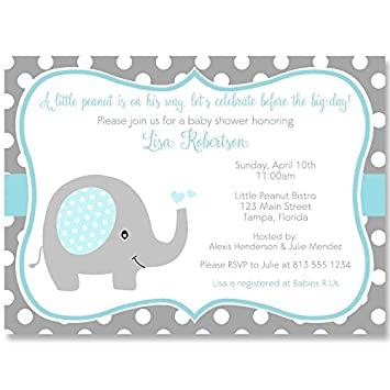 Amazon Com Elephant Baby Shower Invitations Sprinkle Boys Blue