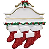 Personalized White Mantle Family of 5 Christmas Ornament for Tree 2018 - Garnished Fireplace Glitter Stockings - Parent Children Friend Winter Activity Tradition Grand-kid - Free Customization (Five)