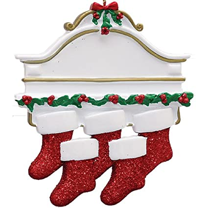 2e7255833 Personalized White Mantle Family of 5 Christmas Ornament for Tree 2018 -  Garnished Fireplace Glitter Stockings