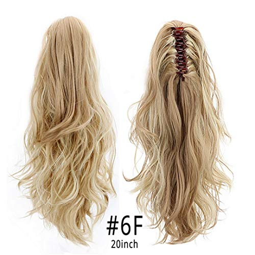 (Synthetic Claw Clip On Ponytail Extensions Hair Pieces Long Wave Clip In Human Hair Extensions Heat Resistant Ponytail Wigs 150G Hpp006F 16-21Inches)