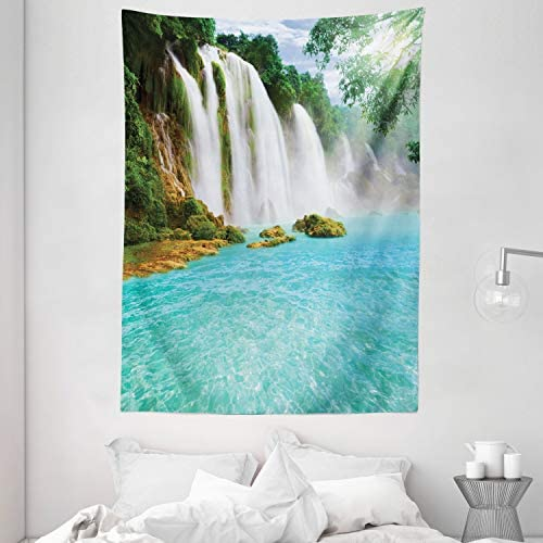 Ambesonne Waterfall Tapestry, Ban Gioc-Detian Cascade in The Forest Tropical Waterscape Clear Pool, Wall Hanging for Bedroom Living Room Dorm Decor, 60 X 80 , Turquoise White