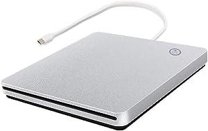 External CD DVD Drive USB C USB 3.0 Slot in Type C Burner Portable Slim DVD CD RAM Writer Reader for iMac Notebook Laptop Desktop Support Mac os Win 7 Win8 Win10 (Sliver)