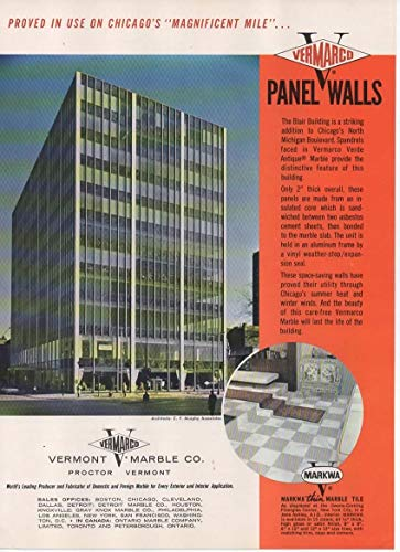 Magazine Print Ad: 1963 Vermont Marble Company, Vermarco Verde Antique Marble Panel Walls for Blair Building, North Michigan Blvd, Architect: C F Murphy Associates,