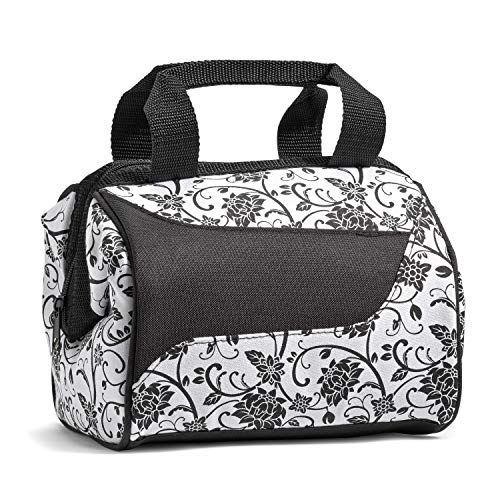 - Fit & Fresh Women's Downtown Insulated Lunch Bag with Zipper Closure and Exterior Pocket, Stylish Adult Lunch Box for Work, Ebony Floral