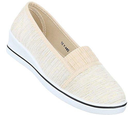 Damen Halbschuhe Schuhe Slipper Loafer Mokassins Flats Slip On Ballerinas Schwarz Beige Weiß 36 37 38 39 40 41 Beige