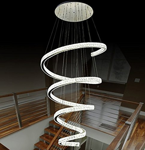 HAIXANG Luxury Modern Large Big Stair Long Spiral Crystal Chandeliers Lighting Fixture for Staircase Rain Drop Pending (Venetian Gold Three Light Chandelier)