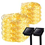 GIGALUMI 2 Pack Solar Strings Lights, 39 Feet 100 LED Solar Fairy Lights, Garden Lights for Outdoor, Home, Lawn, Wedding, Patio, Party and Holiday Decorations- Warm White