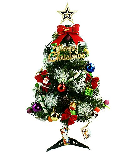 Mini Green Artificial Christmas Tree Decorated Gife Red Berries Ornaments with LED Multicolor Lights - 24