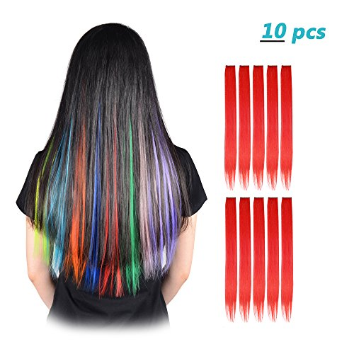FESHFEN 10 Pcs Red Straight Clip on in Hair Extensions Hairpieces 20 Inches Long Remy Hair Colored Party Highlights Hair Accessories DIY Hair Decoration Cosplay with Gift -