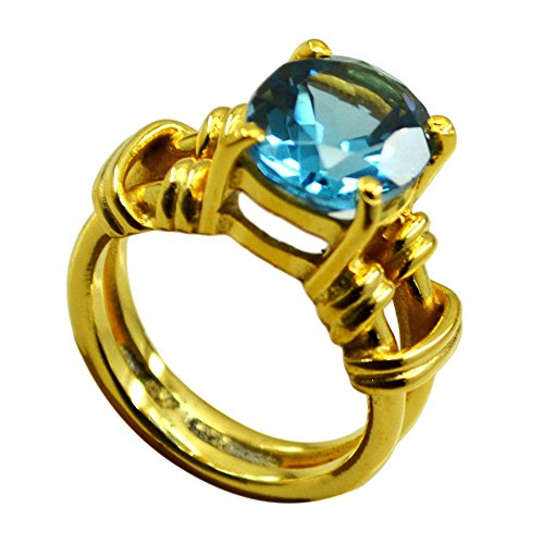 (Jewelryonclick Gold Plated Topaz CZ Engagement Rings Blue Stone Gift Women Prong Style)