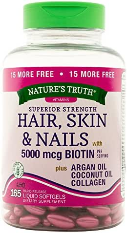 Nature's Truth Superior Strength Hair/Skin/Nails with Argan/Coconut Oil/Collagen, 165 Count